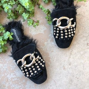 Jeffrey Campbell Slide On Silver Studded Mules